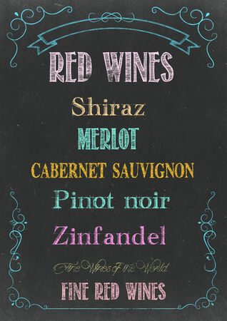 Chalkboard with RED WINES  MENU Hand Drawn in Chalks