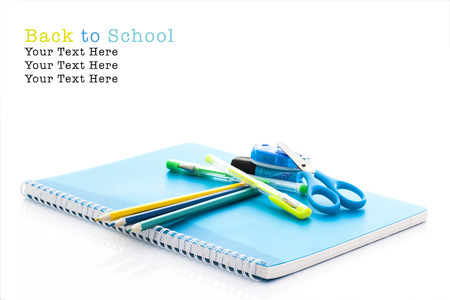 back to school supplies: School supplies on white background, Back To School Concept