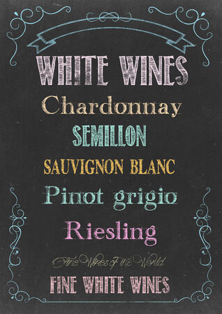 pinot grigio: Chalkboard with WHITE WINES  MENU Hand Drawn in Chalks
