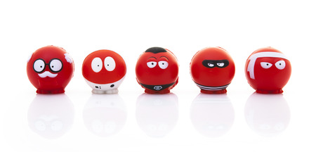 snotty: SWINDON, UK - MARCH 3, 2015: Red Nose Day - Collection of Red Noses for the Comic Relief fund-raising day on 13 March 2015