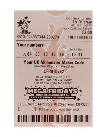 ticket office: SWINDON, UK - AUGUST 2, 2015: New Style Euromillions  Lottery Ticket on a White Background