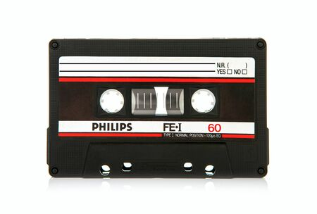 philips: SWINDON, UK - MAY 29, 2016: close up of Philips FEI 60 vintage compact cassette audio tape