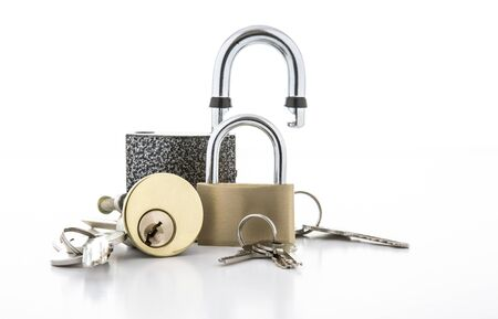lock: Colection of Locks on a white background Stock Photo