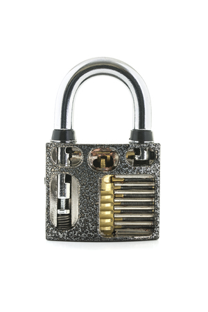 fey: Cut Away Padlock showing how a Padlock Works on a White Background Stock Photo