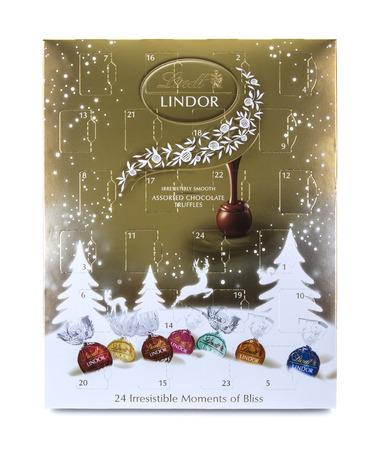 lindt: SWINDON, UK - NOVEMBER 22, 2016: Lindt Advent Calendar on a White Background Editorial