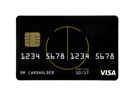 Visa credit card with a smart chip  on a white background