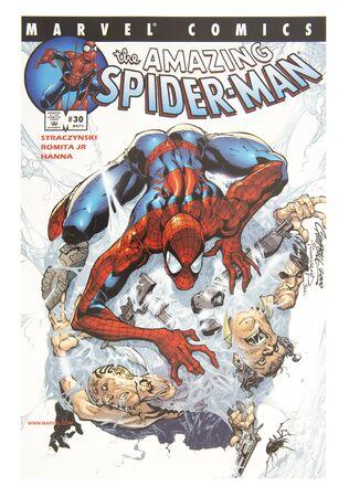 spiderman: SWINDON, UK - DECEMBER 28, 2014:MARVEL Comics The Amazing Spider-Man on a White background