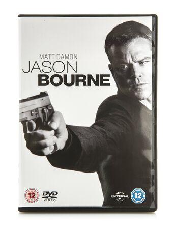 ultimatum: SWINDON, UK - DECEMBER 29, 2016: Jason Bourne DVD on a white background