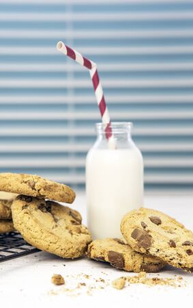 indoor inside: Fresh Homemade Cookies and Milk with Straw