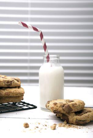 indoor inside: Fresh Homemade Cookies and Milk