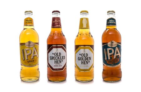 real ale: SWINDON, UK - APRIL 06, 2017: Head Brewers Selection Beers from Greene King, four bottles of the finest English beers hand-picked by the head brewer. Editorial