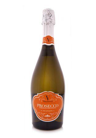 SWINDON, UK - APRIL 17, 2017: Bottle of Valento Prosecco on a white background