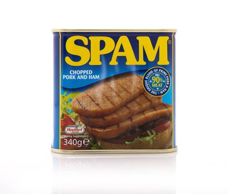 SWINDON, UK - APRIL 17, 2017: Tin of SPAM chopped pork and ham on a white background with copyspace Editorial