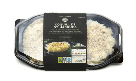 SWINDON, UK - FEBRUARY 11, 2017: Packet of Marks And Spencers Coquilles St Jacques on a white background