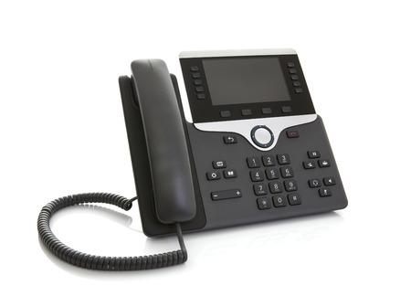 Modernes Geschäftslokal-IP-Telefon auf einem weißen Hintergrund Standard-Bild - 81186169