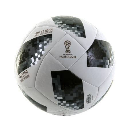 SWINDON, UK - NOVEMBER 18, 2017: Adidas Telstar Top Glider World Cup 2018 Football, The Official Matchball for the 2018 Russia World Cup on a white background