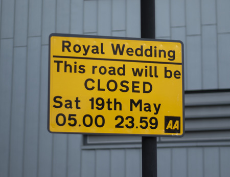 WINDSOR UK - MAY 10, 2018: Royal Wedding road closed sign Publikacyjne