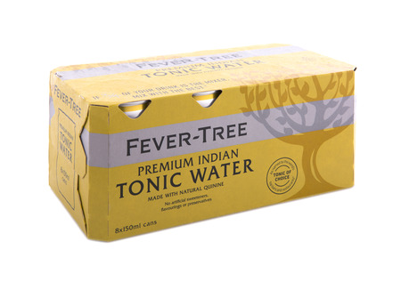 SWINDON, UK - APRIL 06, 2018: Fever Tree Premium Indian Tonic Water 8 Pack of 150ML Cans on a white background