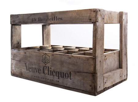 SWINDON, UK - MAY 27, 2018: , Original Veuve Clicquot 15 bottle wooden champagne crate on a white background Publikacyjne