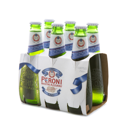 SWINDON, UK - MAY 7th, 2017: 6 Pack of Peroni Beer, Peroni Brewery (Birra Peroni), is a brewing company, founded in Italy and owned by SAB Miller