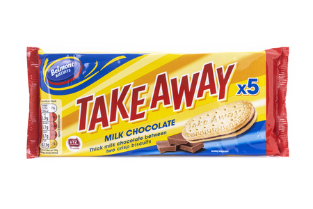 SWINDON, UK - AUGUST 19, 2018: Packet of Belmont Take Away Milk Chocolate Biscuits on a White Background. Publikacyjne