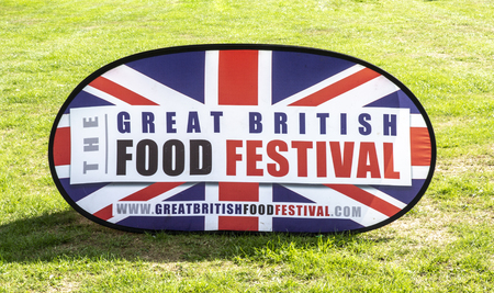 BOWOOD UK - AUGUST 25, 2018: The Great British Food Festival sign at  Bowood House in Wiltshire Publikacyjne
