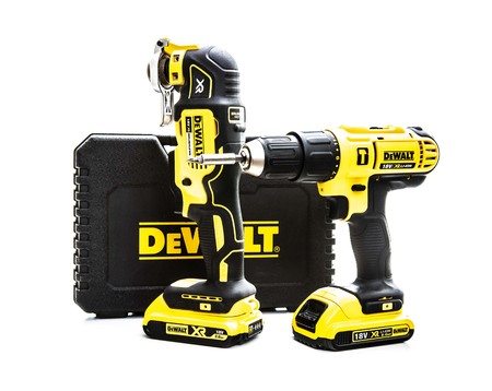 SWINDON, UK - JULY 31, 2018: DeWalt cordless power tools on a white background