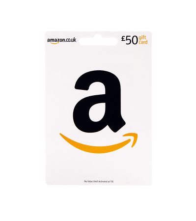 SWINDON, UK - JUNE 27, 2018: £50 Amazon Gift Card on a white background
