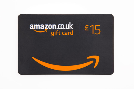 SWINDON, UK - JUNE 27, 2018: Amazon Gift Card on a white background