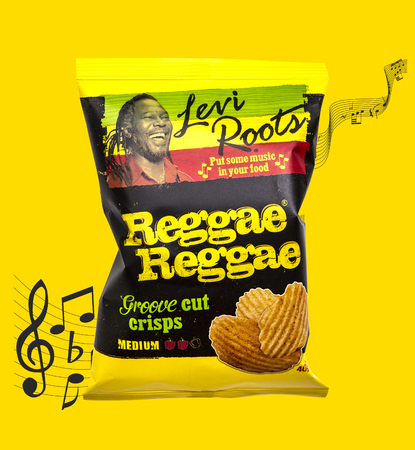 SWINDON, UK - MARCH 3, 2019: Levi Roots Reggae Reggae Groove cut crisps on a yellow background