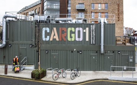 BRISTOL, UK - FEBRUARY 16, 2019: CARGO 1 Container shops Wapping Wharf, Bristol, UK