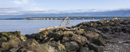lowlevel view of the Severn Bridge from severn beach near Bristol, United Kingdom,