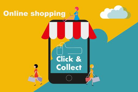 Click and Collect internet shopping consept