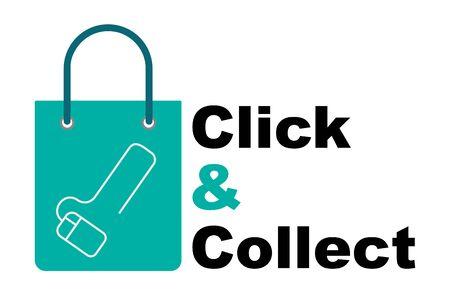 Click and collect concept vector online shopping concept Vektorgrafik