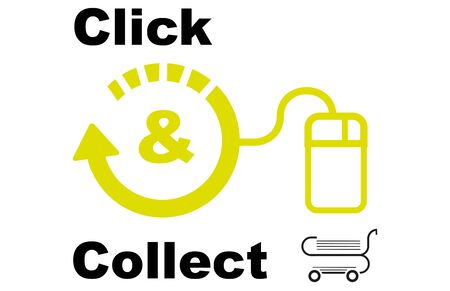 Click and collect concept vector EPS Drawing