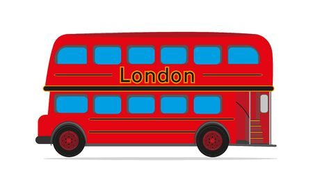 Red London Bus vector drawing on a white background