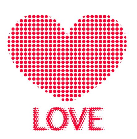 Red halftone heart vector with love text on a white background
