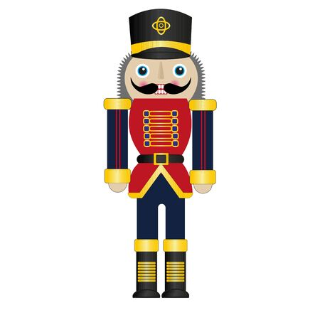 Christmas Nutcracker Vector Drawing on a white background