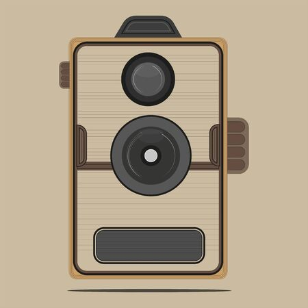 Retro box camera vector drawing on a light brown background