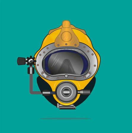 Yellow Diving helmet vector drawing on a green background
