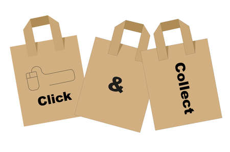 Click and collect internet shopping concept vector 向量圖像