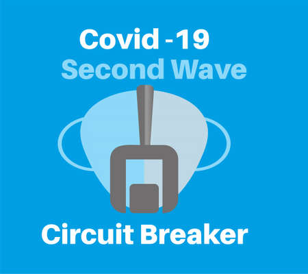 Covid-19 - Second Wave Circuit Breaker vector Illustration on a blue background Ilustração