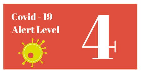 Covid-19 - Alert Level 4 vector Illustration on a orange background Ilustração