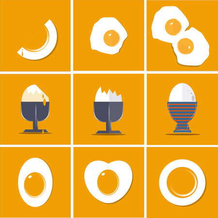 Egg collection flat vector illustration set isolated on yellow background with copy space