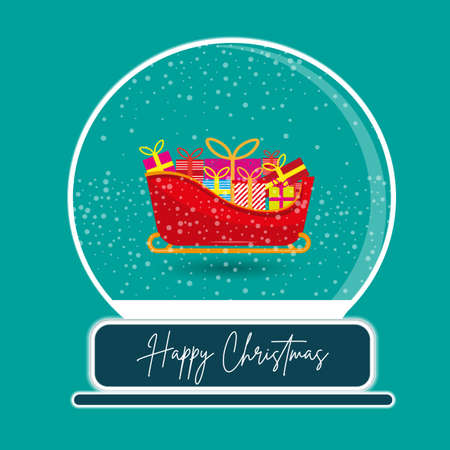 Santa sleigh snow globe vector illustration on a green background Stock Illustratie