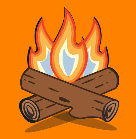 Campfire vector cartoon style illustration - Crossed logs and fire flames on an Orange background.