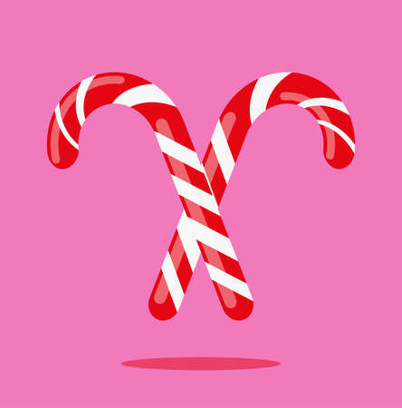 Candy cane christmas vector illustration design on a pink background