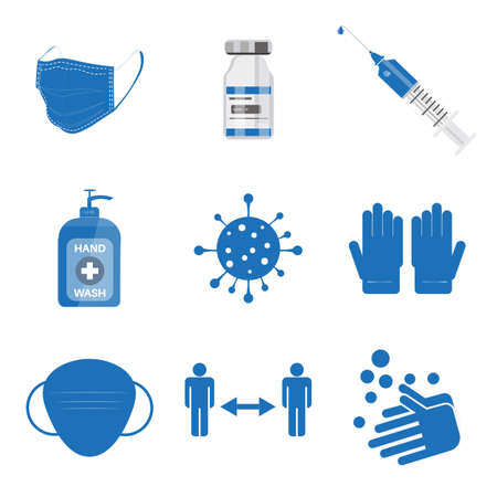 Covid icons set - Collection of vector /EPS simple web icons depicting hygiene, disinfection, symptoms, treatment, virus, prevention and vaccines Editable vector file.