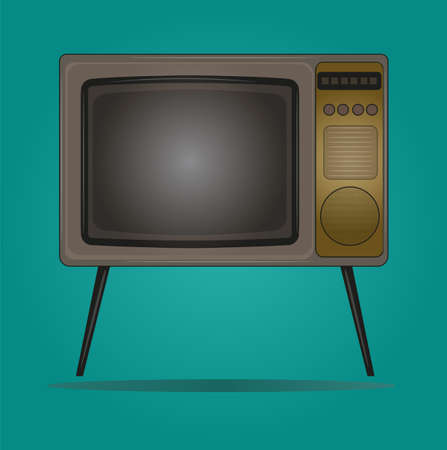 Retro style vector Illustration of an old fashioned television