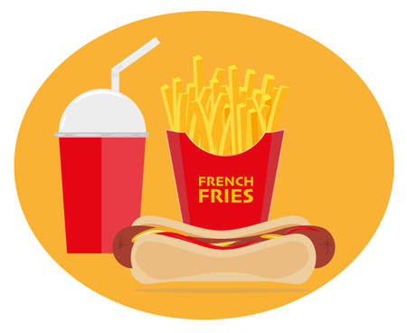 Hot Dog French Fries and a drink vector illustration